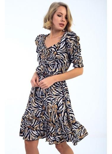Emjey Balon Kol Ön Büzgülü Eteği Valonlı Elbise Siyah